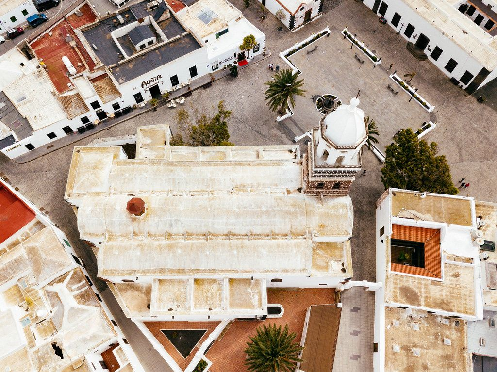 Bird eyel view of a Spanish church