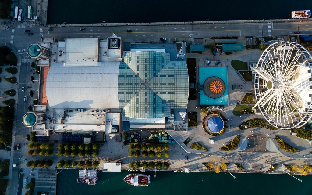 Bird's eye view of Chicago Children's Museum, Navy Pier and Centennial Wheel