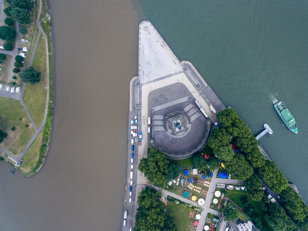 Bird's eye view of Deutsches Eck. Mosel river joins the Rhine