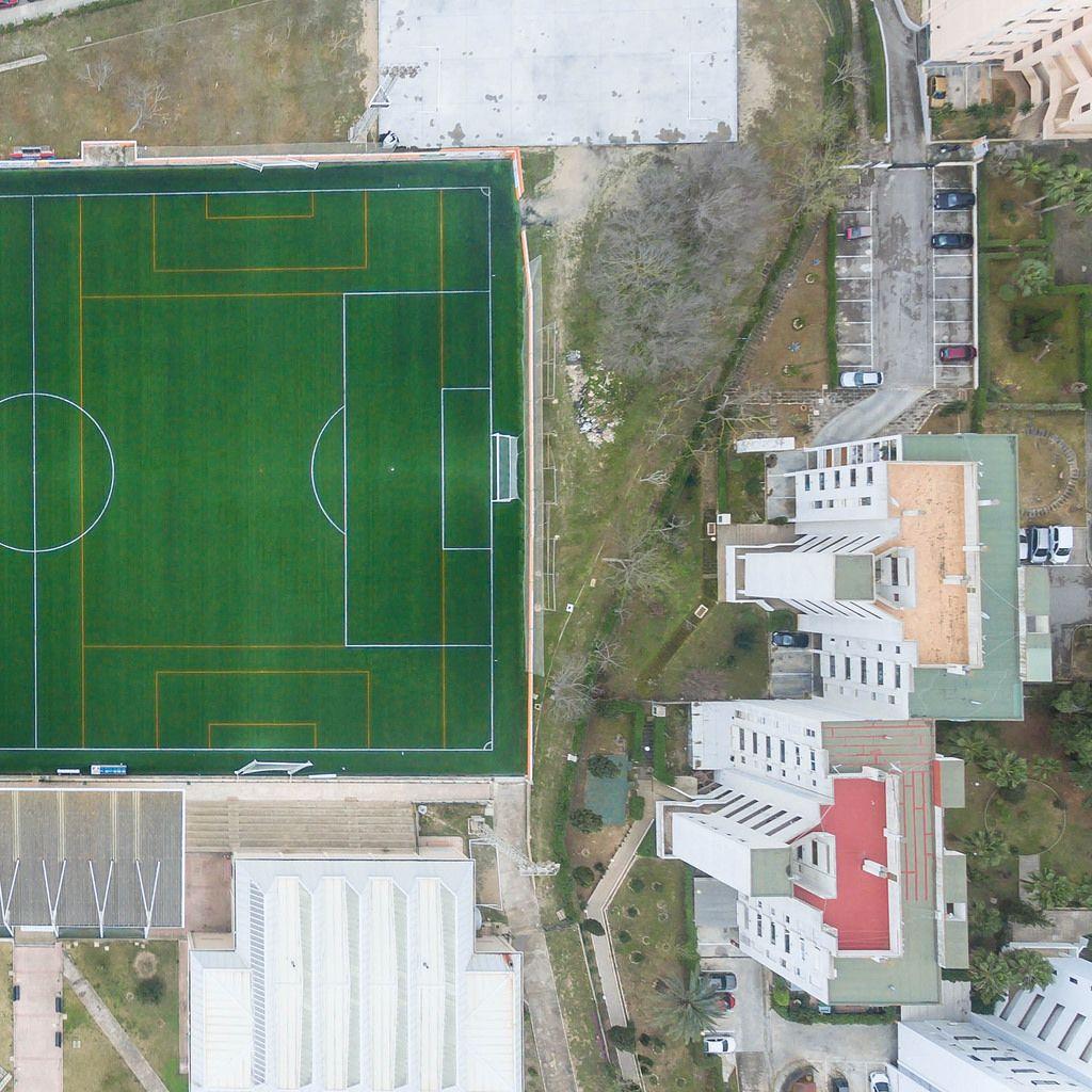 Bird's eye view of soccer stadium Campo de Futbol Magaluf, Mallorca