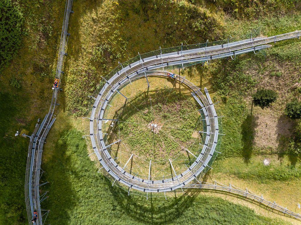 Birds View Drone Shot of Alpine Slide in Summer in Gutach, Germany