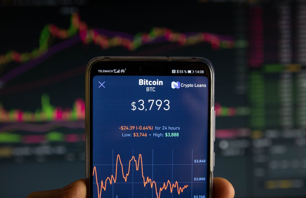 Bitcoin market value is seen on mobile device