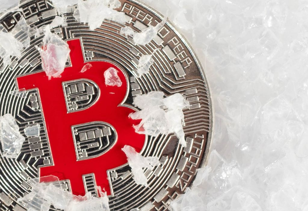 Bitcoin resting in snow