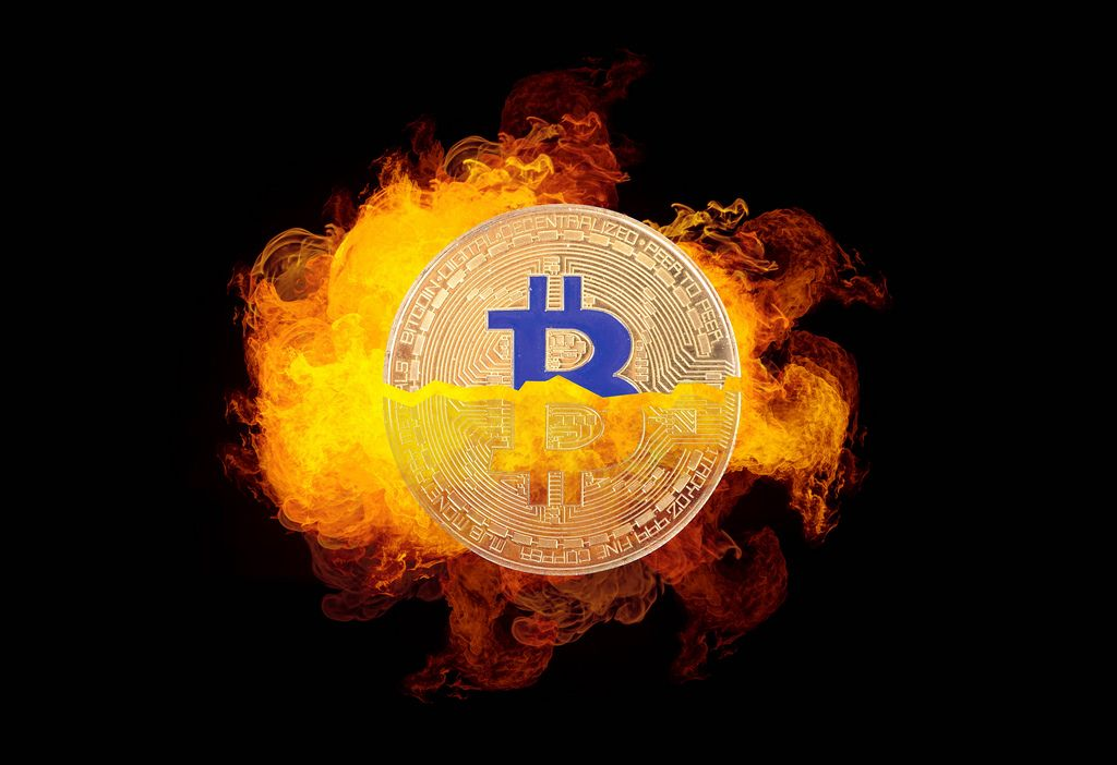 Bitcoin with fire on black background