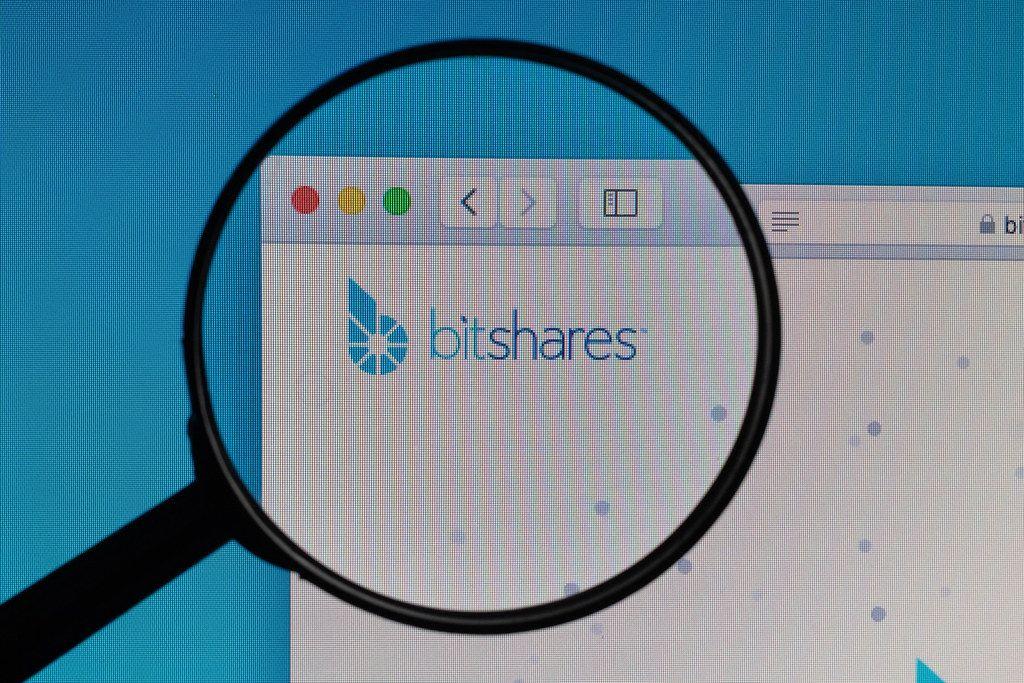 Bitshares logo under magnifying glass