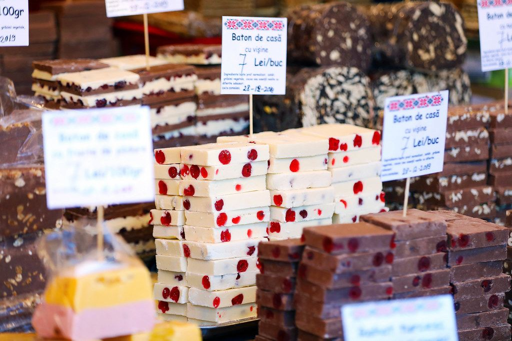 Black and white homemade chocolate bars at Sibiu Christmas market