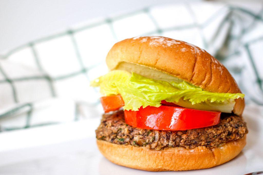 Black Bean Hamburger with Salad and Tomatoes
