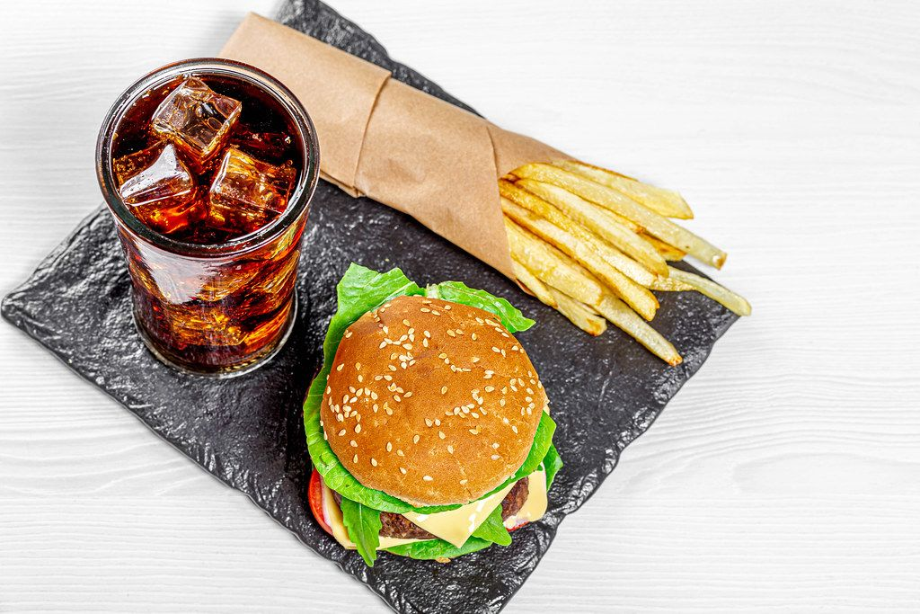 Black stone tray with fast food