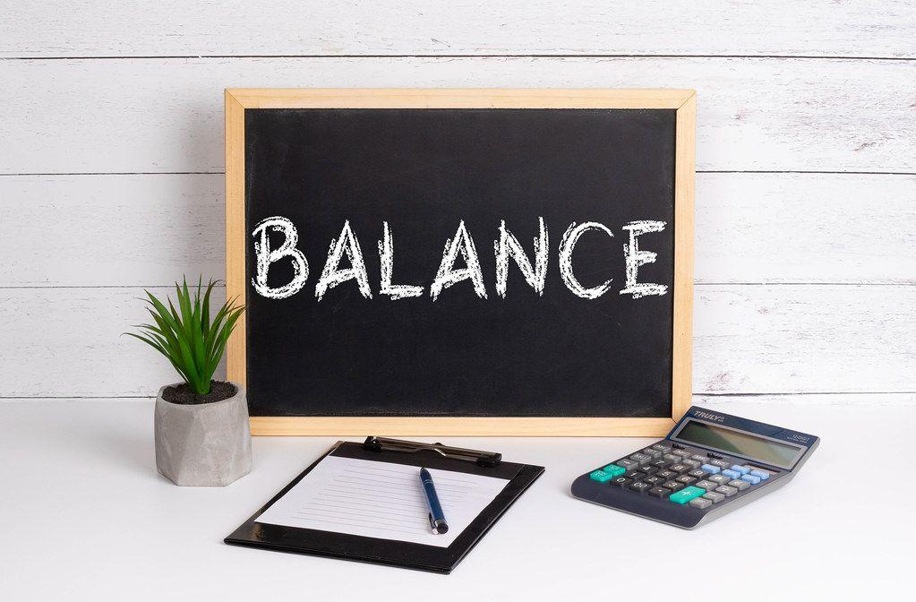 Blackboard with Balance text