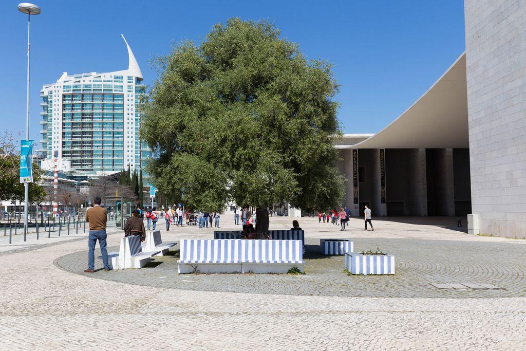 Blau-weiße Sitzbänke mit dem Gebäude Torre São Gabriel im Hintergrund - Lissabon, Portugal
