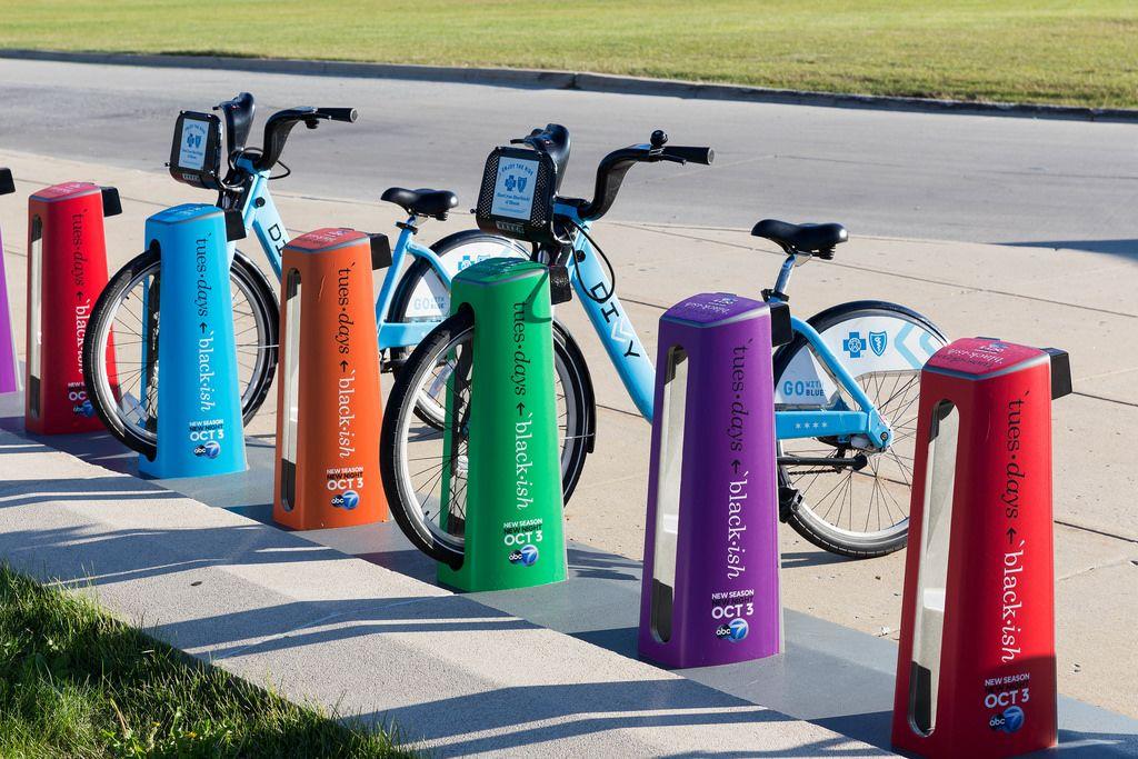 Blaue Leihräder in Chicago