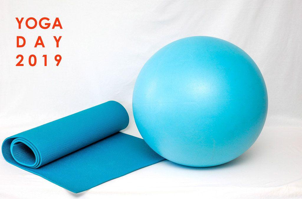 Blaue Yogamatte und Gymnastikball vor weißem Hintergrund, mit dem Bildtitel