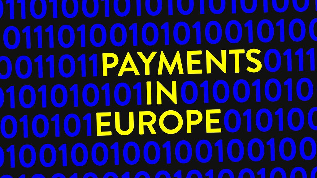Blue binary code on screen with text Payments in Europe