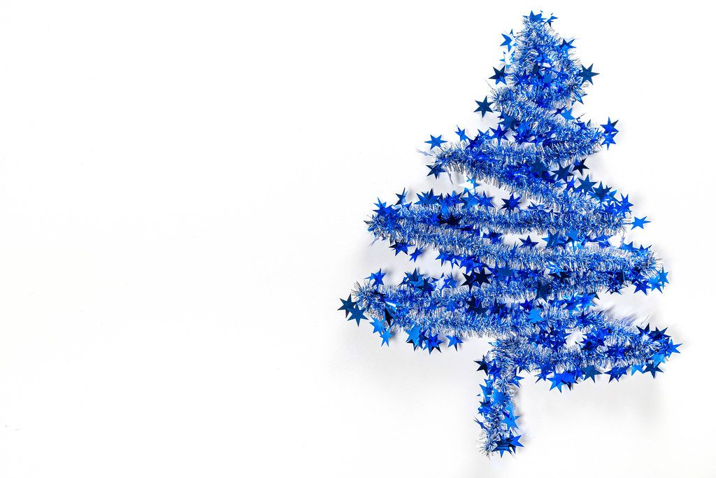 Blue christmas tree on white background with free space (Flip 2019)