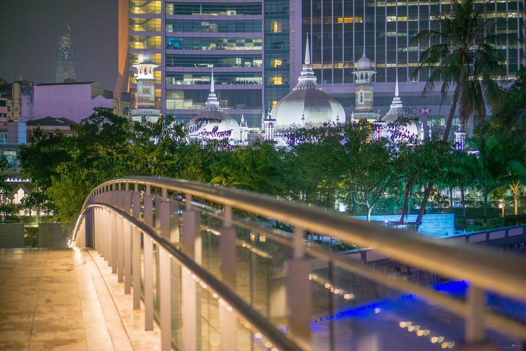 Blue Pond and Masjid Jamek Mosque at Night in Kuala Lumpur.ARW