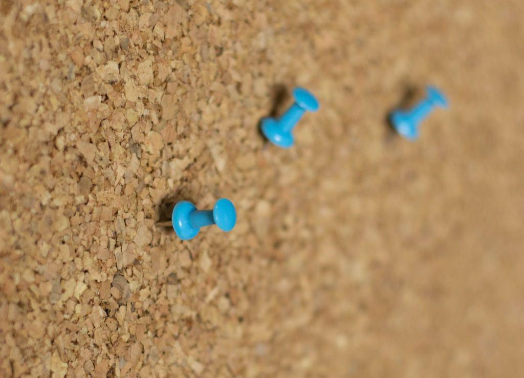 Blue push pins