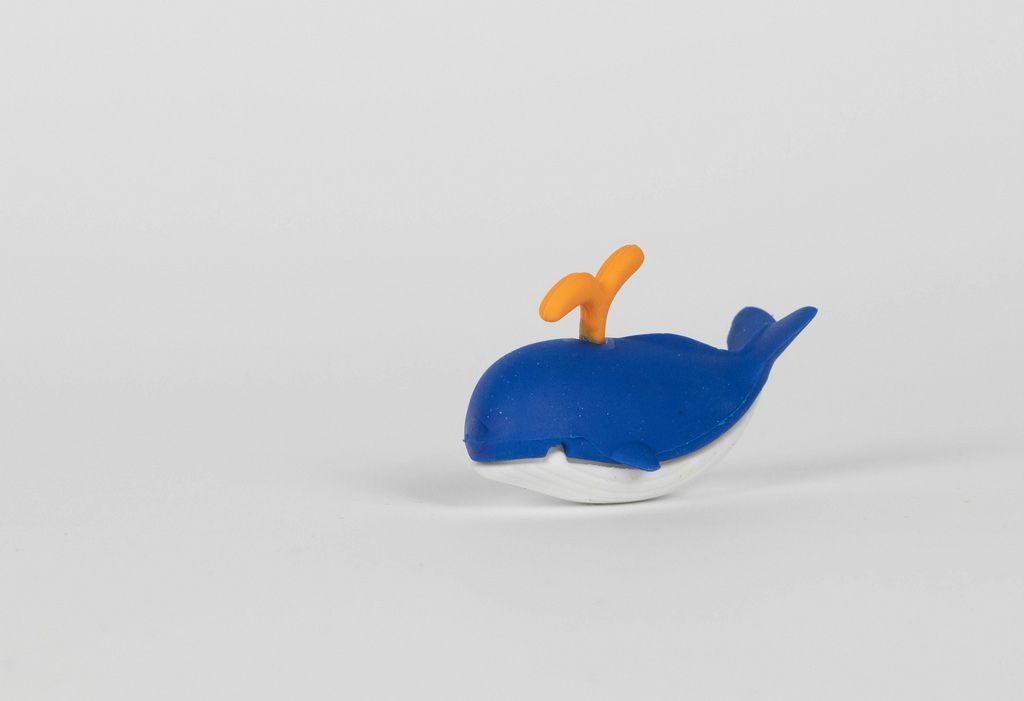 Blue rubber whale toy