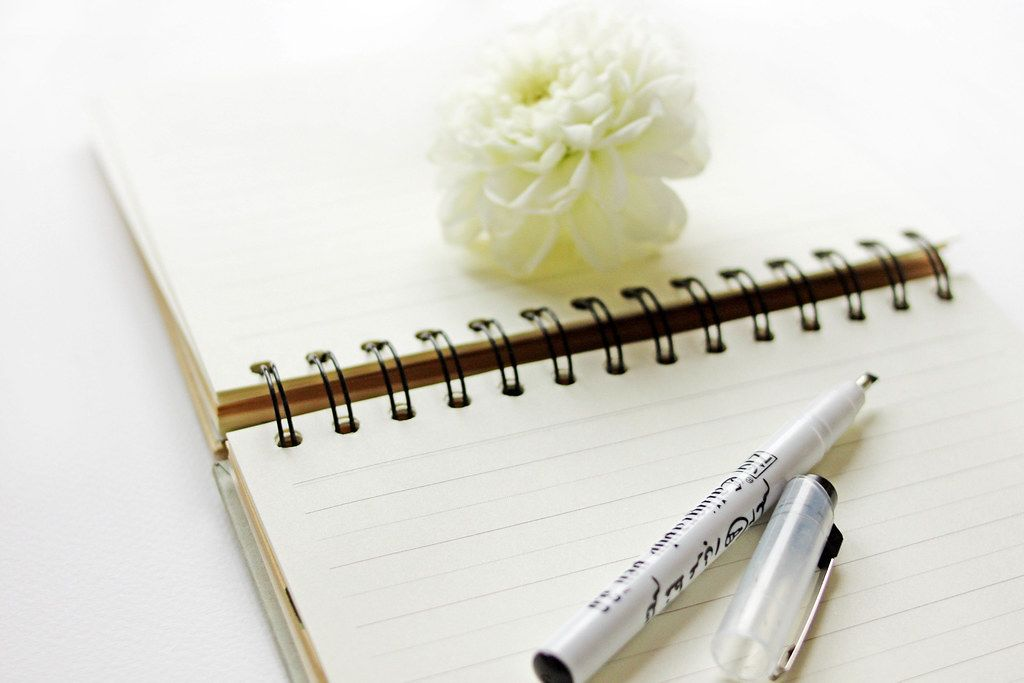 Bokeh Photo of Pen laying on an open Book to write a letter with Flower in the Background