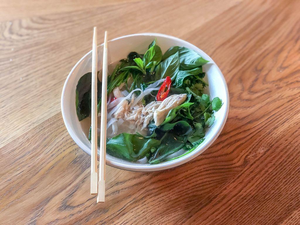 Bowl of Pho Ga Vietnamese chicken soup