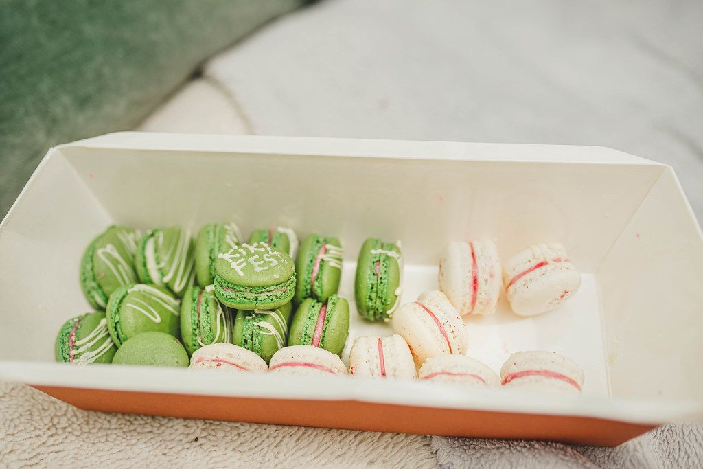 Box Of Small Pistachio  And Vanilla Macaroons