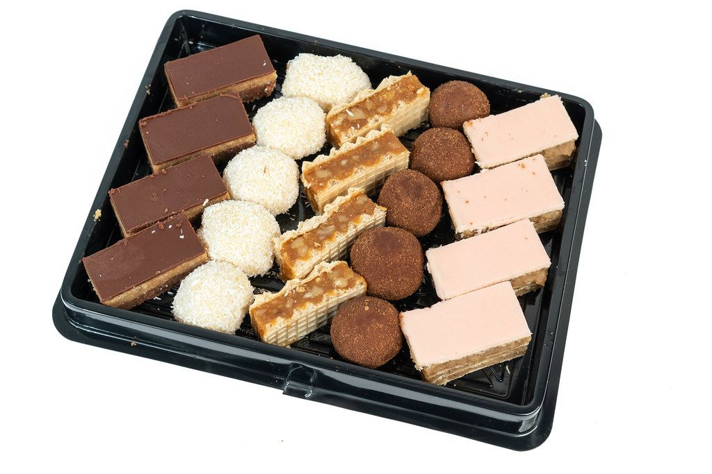 Box with mixed chocolate cookies