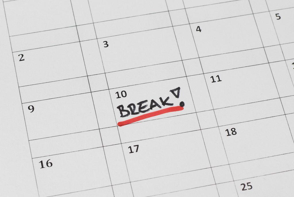 Break word marked on a calendar