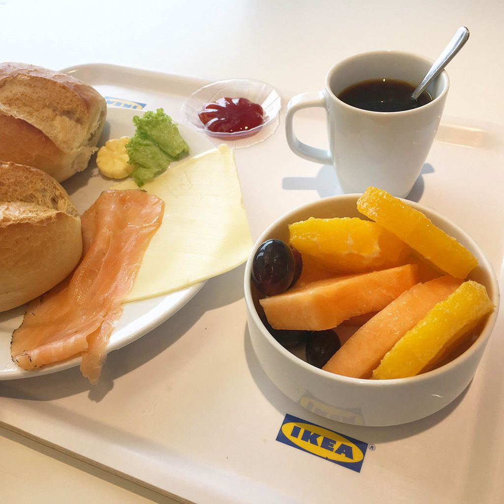 Breakfast at IKEA: Salmon, Coffee and Fruits