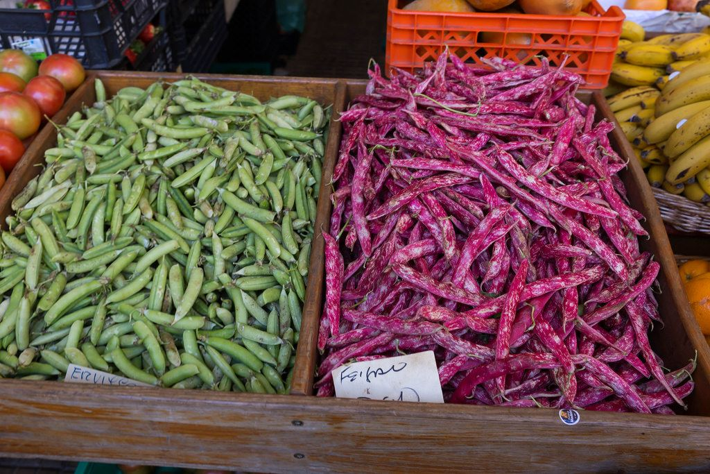 Brechbohnen auf Mercado dos Lavradores in Funchal, Madeira