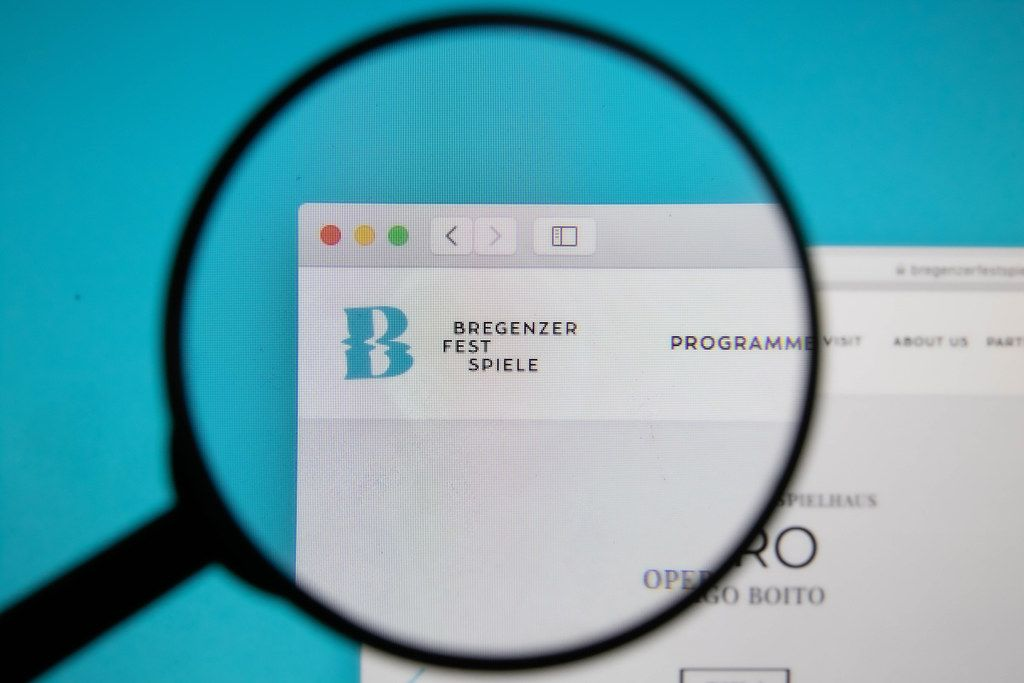 Bregenz Festival logo on a computer screen with a magnifying glass