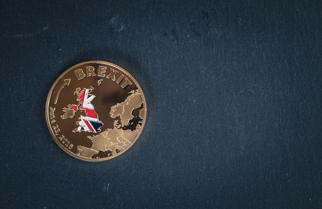 Brexit coin on a black background