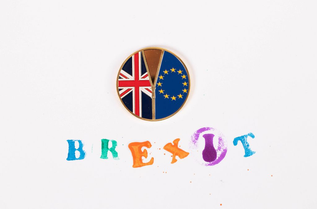 Brexit medal coin with colorful Brexit stamp text