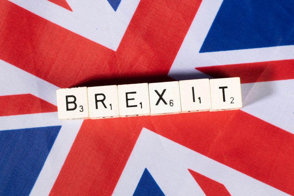 Brexit text on United Kingdom flag