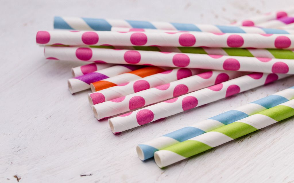 Bright colorful paper straws