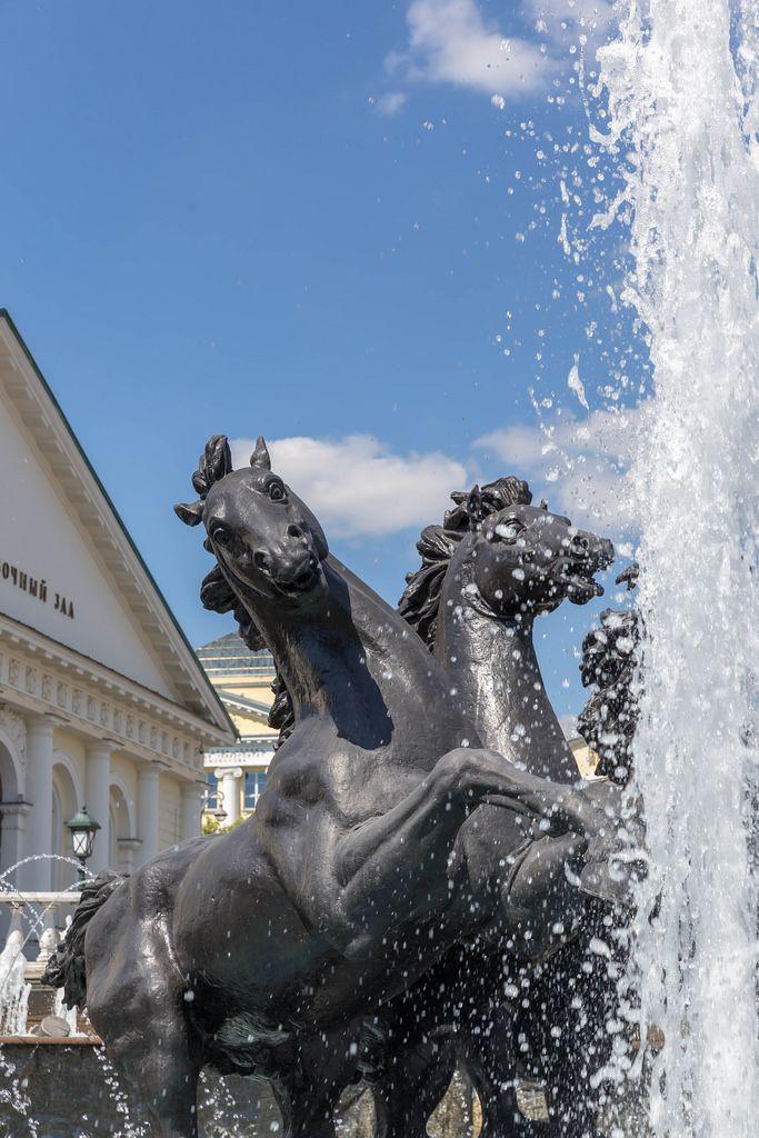 Brunnen und Pferde-Skulptur am Manege-Platz