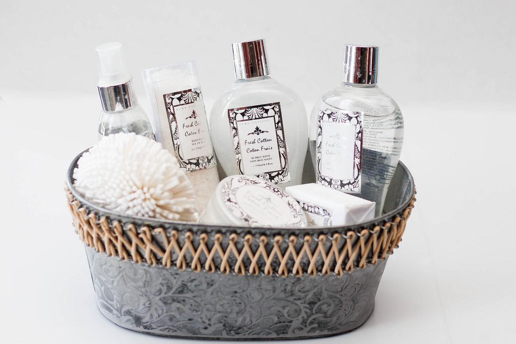 Bubble Bath and Lotion Bottles on a Grey Basket