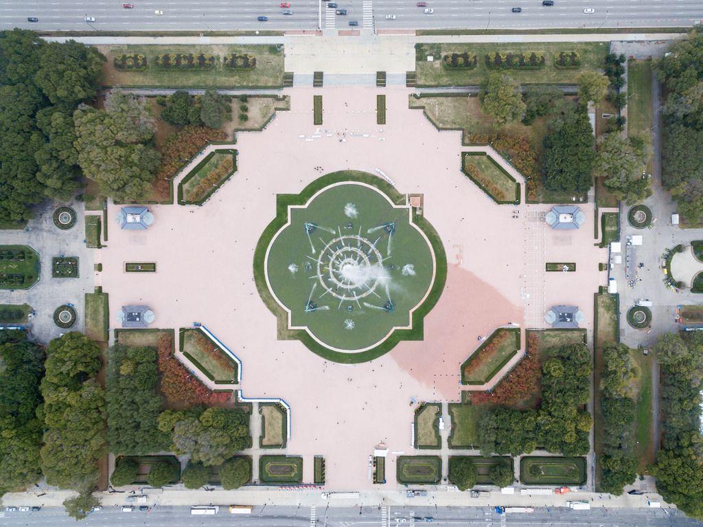 Buckingham Fountain im Grant Park aus der Vogelperspektive