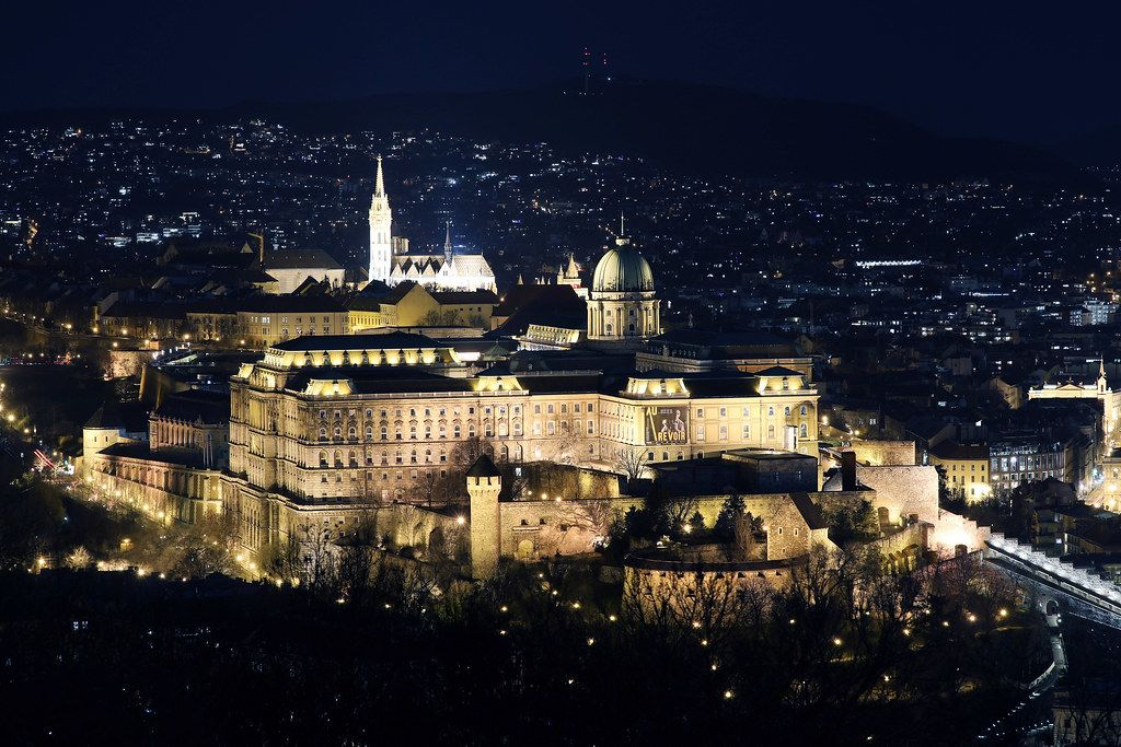 Buda Castle view from above, night view, Budapest