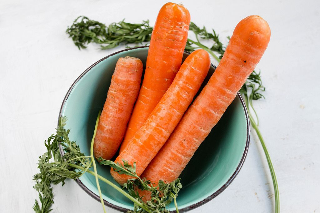 Bunch carrots in bowl