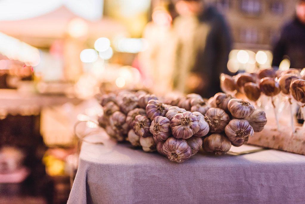 Bunch Of Garlic  At Night Market