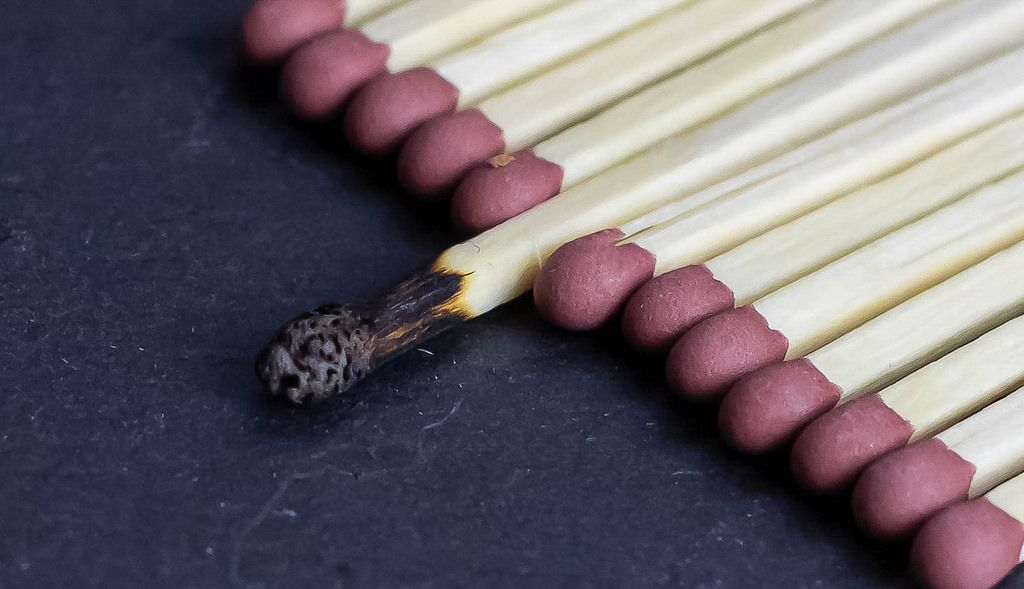 Burned match in group of new matches