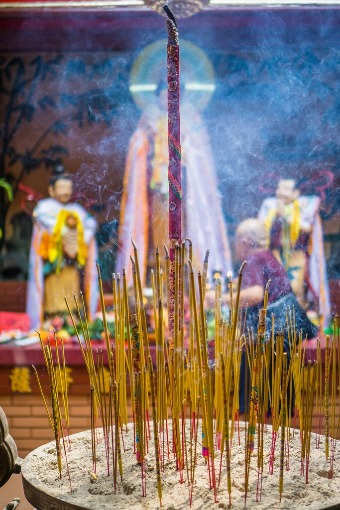 Burning Dry Incense Sticks in On Lang Pagoda in Ho Chi Minh City