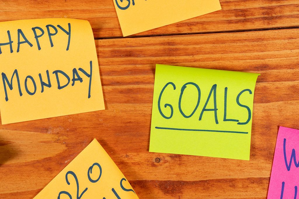 Business Paper Reminders on the wooden board with Goals and Happy Monday signs