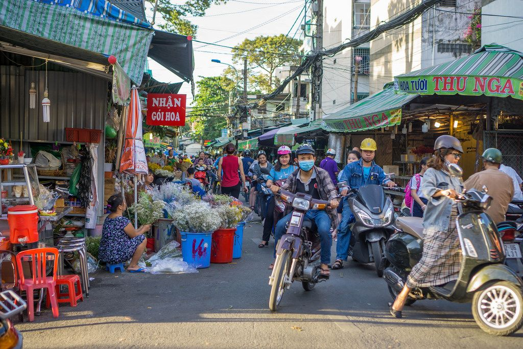 Busy Streets at Flower Market in Ho Chi Minh City