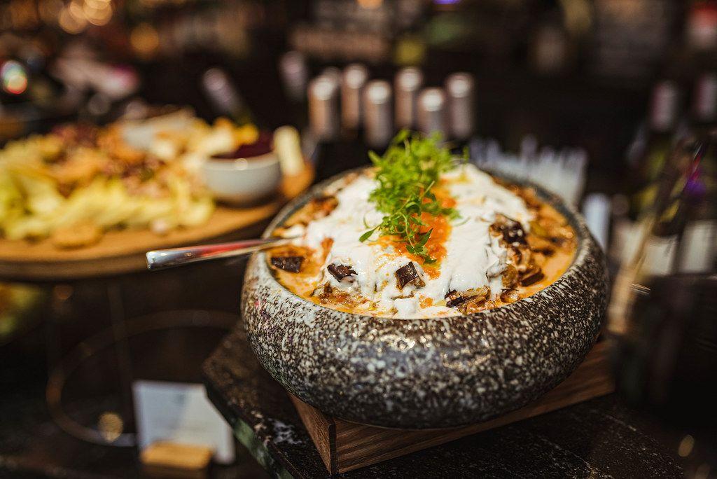Cabbage, Mushroom Soup In Stone Bowl (Flip 2019)