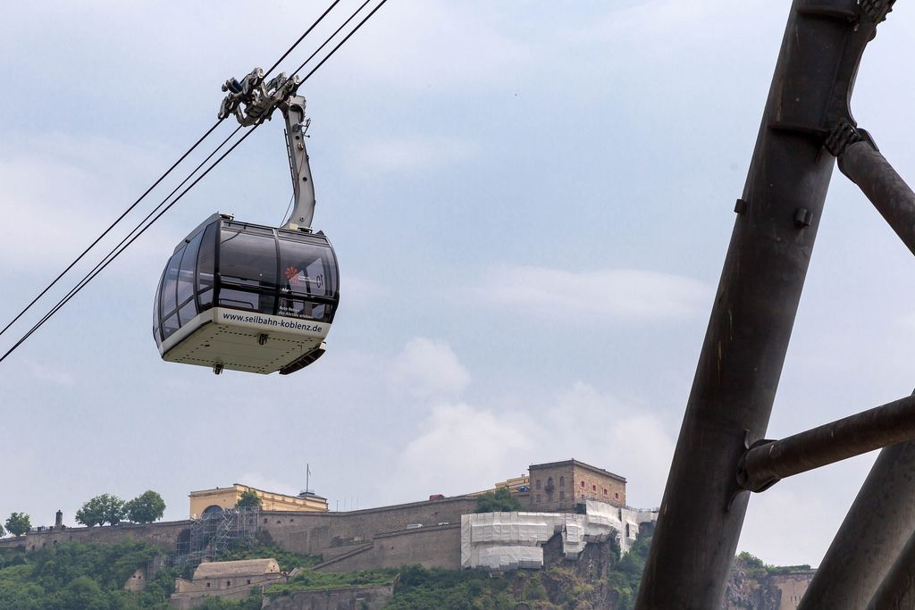Cable car in Koblenz, Ehrenbreitstein fortress in the background