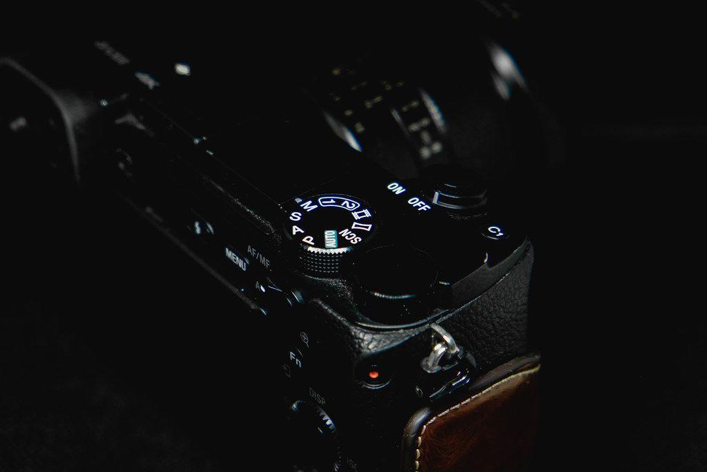 Camera menu dial close up shot