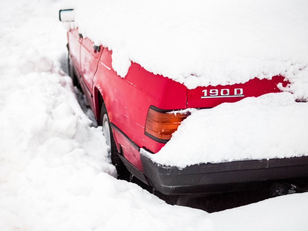 Car stuck after extreme snowfall
