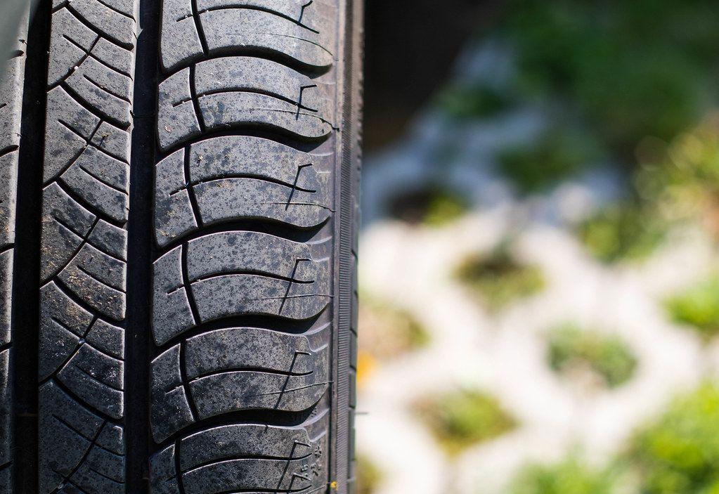 Car tire close up