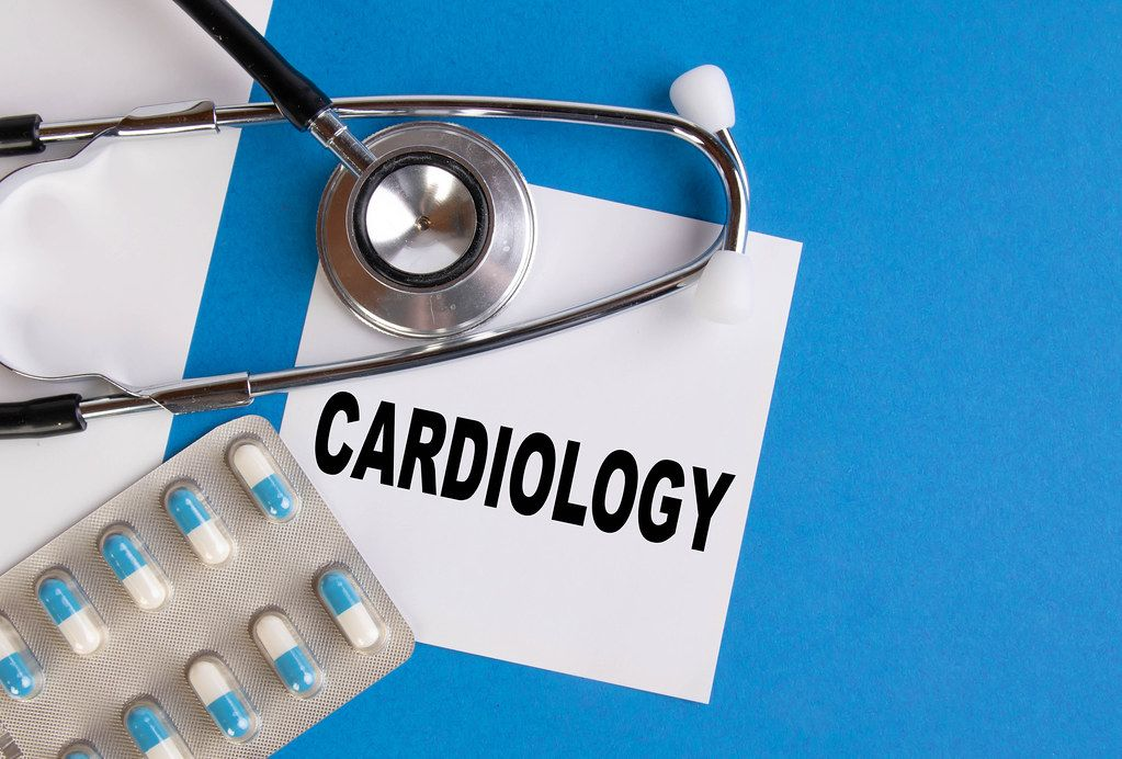 Cardiology written on medical blue folder