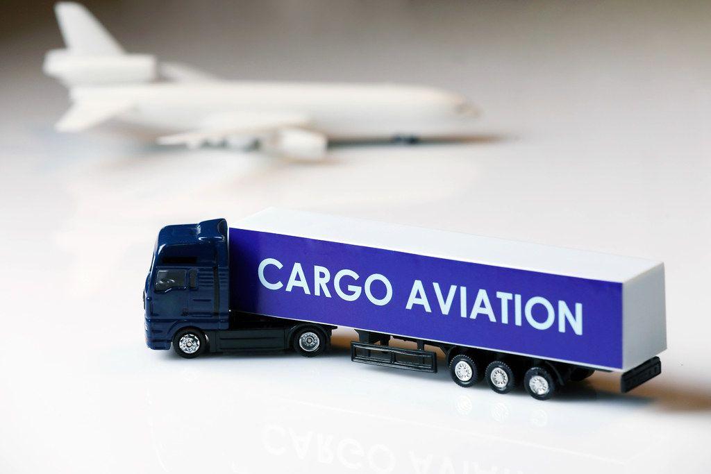 Cargo aviation truck, white background